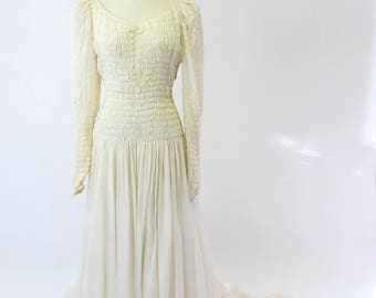 1940s Silk Micro Pleated Wedding Gown