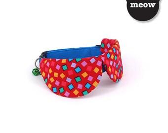 GOOOD Cat Collar   Dapper Round - Happy Confetti   100% Red & Blue Cotton Fabric   Safety Breakaway Buckle