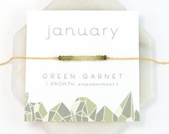 January Birthstone Necklace, Green Garnet Necklace Gold, Ombre Necklace, Raw Crystal Necklace, Inspirational Gift, Personalized Gift for Her