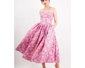 Vintage Laura Ashley / 1980s pink floral print polished cotton strapless tea length dress / Full skirt with pockets S