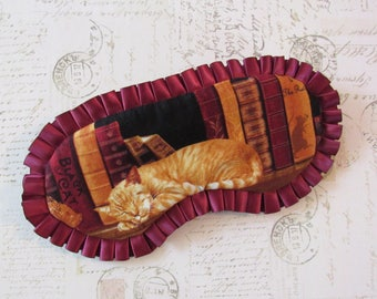 Sleeping Ginger Cat Sleep Mask // Cotton & Satin Eye Mask with Ruffles