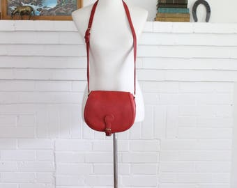Vintage Coach Bag Crossbody Saddle Buckle Pouch Red USA Handbag Purse