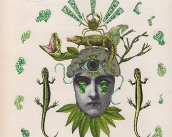50. Green Eyes Original Collage #100daysofpaperheads #the100dayproject