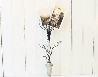 Wire Art Flower Photo/Card Holder in Repurposed Silver Salt Shaker Bud Vase