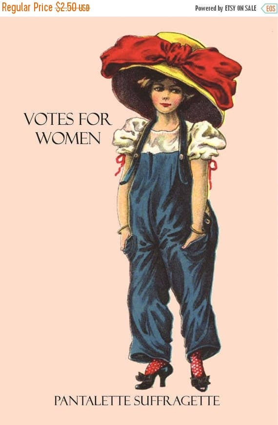 """Votes For Women ~ Pantalette Suffragette ~ International Women's Day (March 8th) Inspired 4"""" x 6"""" Glossy Postcards - Free Shipping in USA"""