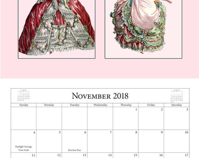 2018 Wall Calendar by Pretty Girl Postcards ~ Featuring 24 Pretty Girl Illustrations (2/month) ~ Printed in Full Color 8 - 1/2 x 11 Format
