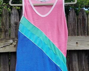 Retro 80's Terrycloth Color-Blocked Tank Top - SM