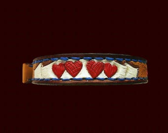 Hearts leather collar, leather dog collars, Maltese collar, Shih Tzu collar, Toy Poodle collar, Mini Schnauser collar