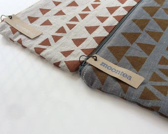 Linen Pouch, Pencil Pouch, Orange Triangles, Hand Printed Linen