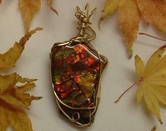 Very Large Chunky Bright Red, Green and Yellow Fire Ammolite from Utah Deposit Gold Filled Wire Wrap Pendant  317