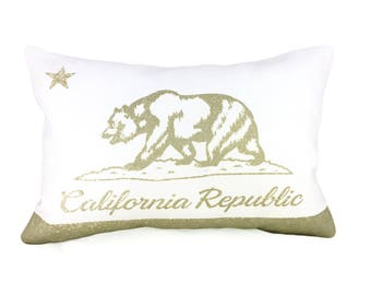 READY TO SHIP: California Flag Pillow Cover - White Linen & Champagne Metallic (add'l colors avail)