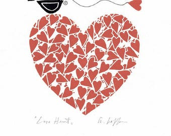 valentines day anniversary gift red heart print original linocut hand pulled love