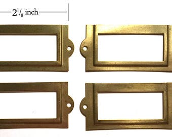 Brass Drawer Label Holder, Set of Four