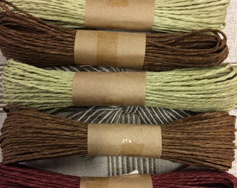 4 bundles of brown color and 3 bundles of olive green of Paper Twines for weddings, crafting, gift wrapping, packaging