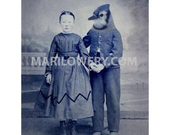 Blue Jay Art, Animal in Clothes, Bird Art, Couple Holding Hands, 5x7 inch print, 8x10 inch print, Nursery Decor, Unusual Art