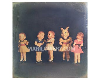 Colorful Vintage Plastic Doll Collection Creepy Cute Photography Weird Wall Art Print, 7X7 on 8.5 x 11 inch Paper, frighten
