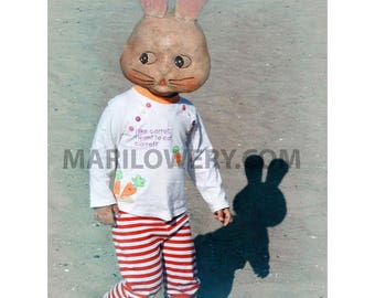 Creepy Cute Rabbit Mask Photography Print, 8 x 10 Inch Print, Mixed Media Collage Art, Weird Easter Art