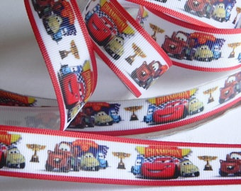 "Cars Grosgrain Ribbon 5 yards of 7/8"" Lightning McQueen Tow Mater & Friends Red and White Hair Bows Boys Race car Birthday Party Favor Ties"