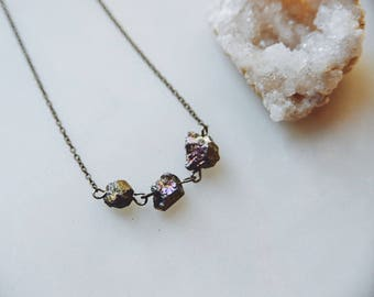 rainbow rocks. a modern minimalist pyrite nugget gunmetal necklace