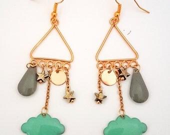 Golden cloud earrings, drop and Star