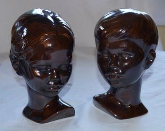 Holland Mold Brown Glaze Boy and Girl Excellent Condition