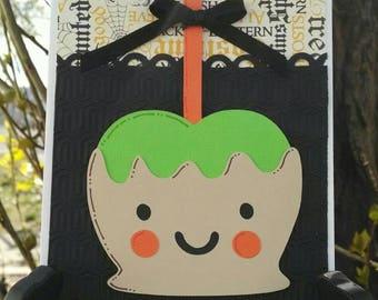 Caramel Apple Trick or Treat Halloween Card