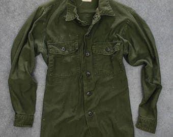 Green Army Jacket Vintage Grunge Size Large | Vietnam Era 1970s Mens Womens Unisex | 7ND