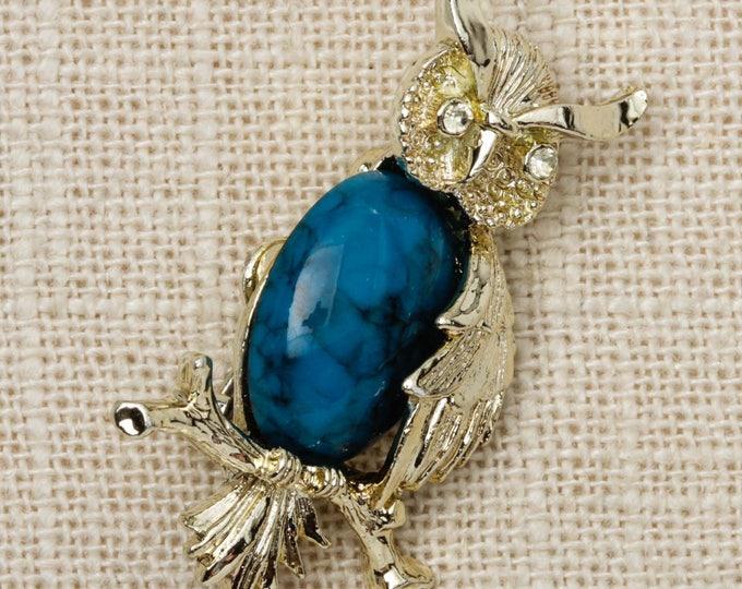 Owl Brooch Vintage Blue Cabachon Gerrys Broach Vtg Pin 7T