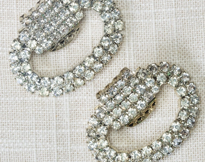 Vintage Shoe Clip Rhinestone Oval and Square Shoeclips