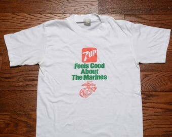 vintage 80s 7up t-shirt 7-UP Feels Good About The Marines USMC tee shirt soft thin burnout tee 1980 slimfit t-shirt Marine Corp S/M