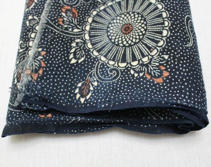 Japanese Katazome Cotton. Boro Textile. Natural Indigo Stencil Dyed Folk Fabric  (Ref: 1894B)