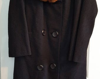 Mid Century Vintage Black Double Breasted Coat with Mink Fur Collar Womens Size 12-14