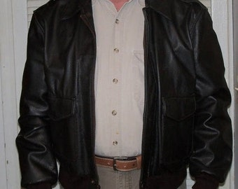 Vintage Aviator Bomber Jacket Brown Leather Mens Size L 1980s Replica from Sheepskin and Leather Coat Co