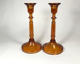 Pair Cambridge Glass Amber Candlestick Holders #437