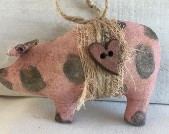 primitive home decor - primitive Christmas ornaments - primitive pig ornaments - holiday decor - farmhouse Christmas - rustic Christmas