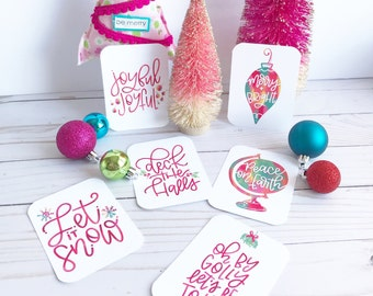 Christmas - Hand Lettered Encouragement Cards, Bible Journaling, Planner Card, Gift Tags, Planner, Thank You Stationary, Merry & Bright