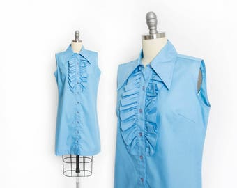 Vintage 1960s Shirt Dress - Blue Sleeveless Ruffle Shirtwaist Shift Day Dress - Medium