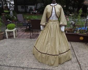 Ladies Size 12 Civil War Zouave Suit Reenacting Dress and Reticule