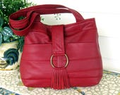 Recycled Leather Handbag Tote in Dark Red - Upcycled Leather - Antique Brass Buckle with Fringe