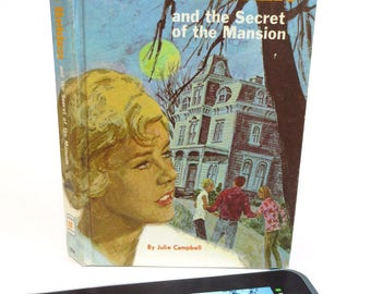 Blue and Orange Tablet Case Made from Vintage Trixie Belden Book, Ghostly Mansion on Front, Fits Kindle Fire, Nexus 7, Galaxy Tab, LG Pad 7