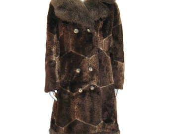 1960s Wool Coat, Faux Fur Coat, Brown Faux Fur Coat, Brown Mohair Coat, Vintage 60s Coat, Womans Winter Coat, Rain Master, Made in Canada