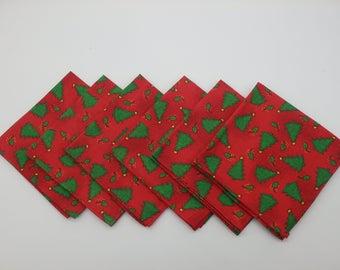 Christmas Tree Napkins, Holiday Lunchbox Napkins, Cocktail Napkins, Cloth Cocktail Napkins, Small Napkins - Set of Six