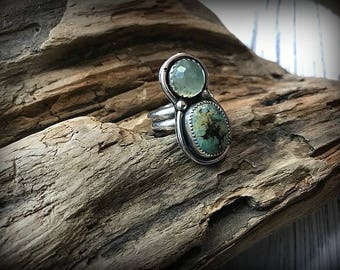 Calming Seven Dwarfs Turquoise and Faceted Prehnite Sterling Silver Ring - Size 7