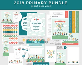 2018 LDS Primary Theme Bundle - I Am a Child of God, Primary Helps and Printables