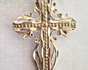 Cross Sterling Silver and Chain Ornate Bright Cut Silver