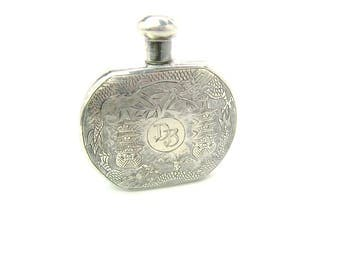 Engraved Perfume Bottle. Sterling Silver Chinese Export Dragon, Pagoda Temples, Monogram DB. Rural Landscape. Vintage 1920s  Antique Holder