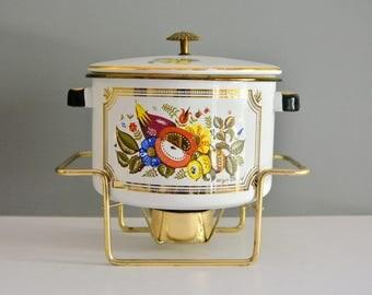 Vintage George Briard Pot and Warmer Stand - Fruit Gold Enamel Enameled Lidded Dutch Ocen