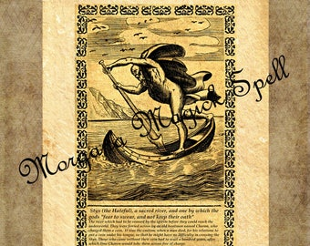 THE RIVER of STYX, Instant Download, Occult Symbol,Alchemy, Mythological,Clip Art, Digital Download, Occult Book of Shadows Page