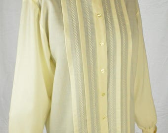 70s classic embroidered cream Victorian style wool blouse by Jaeger size M