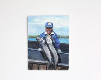 "Vintage Fishing Painting Drawing Illustration Fish Fisherman Musky Muskie Trout Bass Grandpa 12"" x 16"" Art Artwork Wall Hanging Bill Dance"